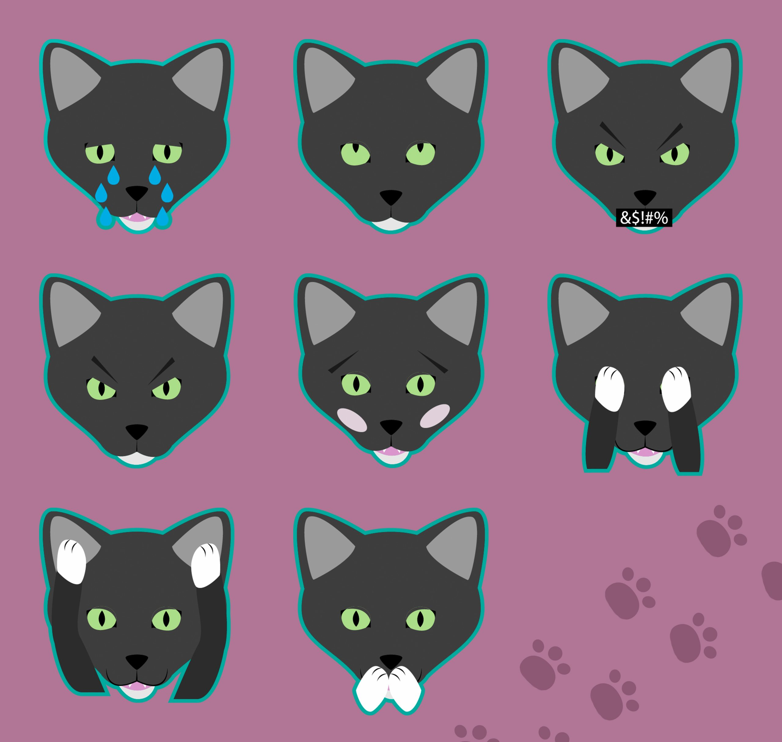 Henry the Black Cat Stickers