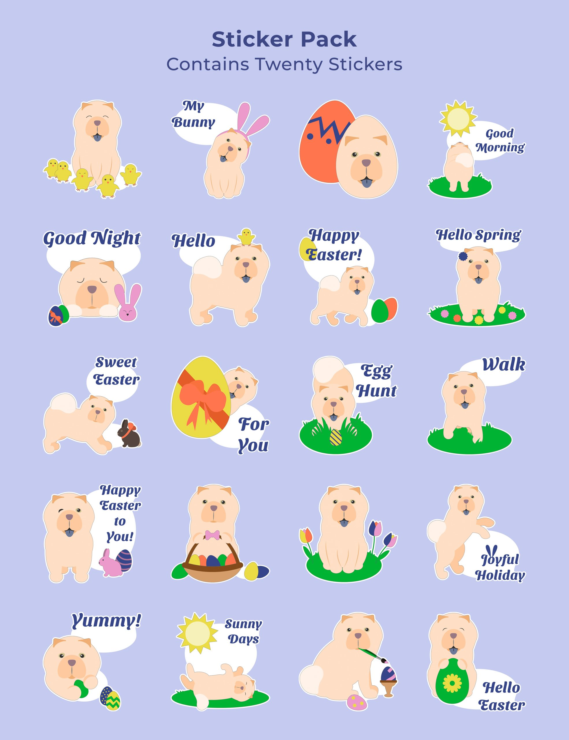 Easter Stickers Chow Chow